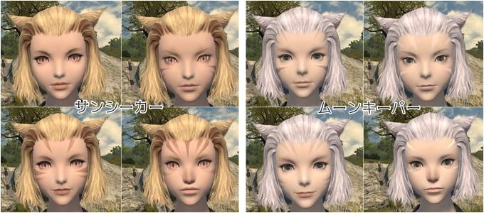 2種族ともに左2つはほぼ同じなので、顔パターンは大まかに左側、右上、右下の3つです。 おでこを出す髪型のときは模様に注意する必要があります。
